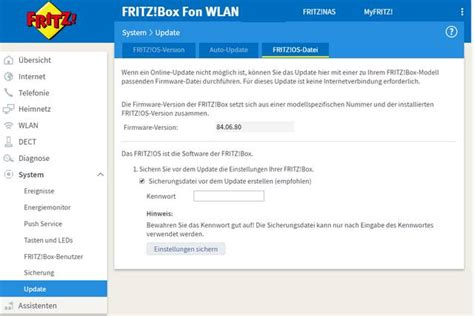 FRITZ!Box 6490 Cable: Wenn die Firmware-Update-Option