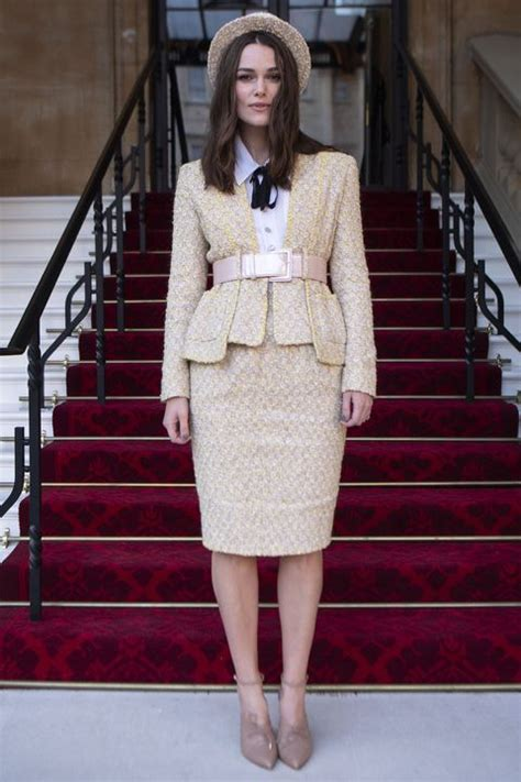 Keira Knightley Receives OBE from Prince Charles in a