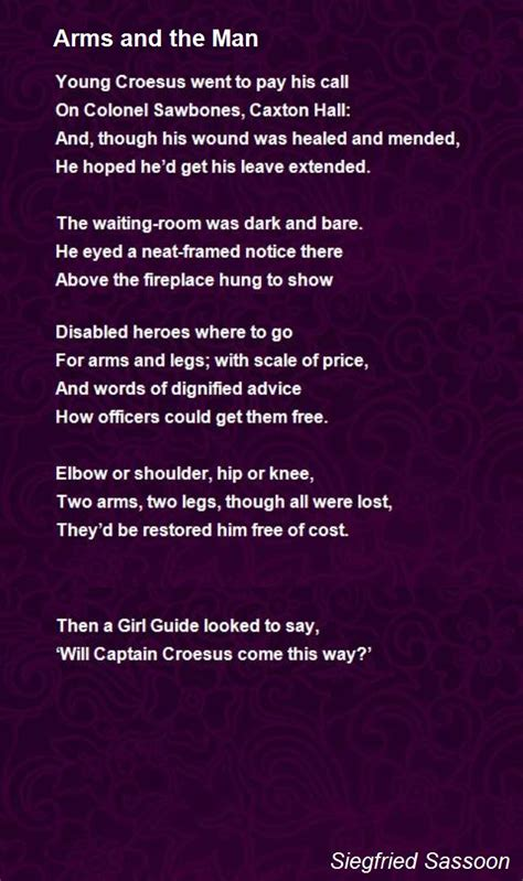 Arms And The Man Poem by Siegfried Sassoon - Poem Hunter