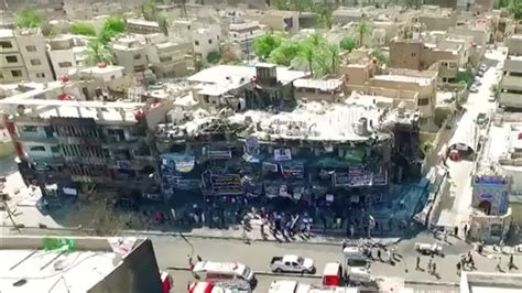Drone shows terrible impact of Baghdad blast that killed