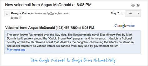 Save Google Voice Voicemails to Google Drive as MP3 Files