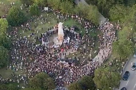 Protesters threaten to topple Columbus statue in Grant