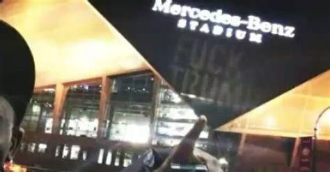 Somebody projected a huge 'F*** TRUMP' onto Mercedes-Benz