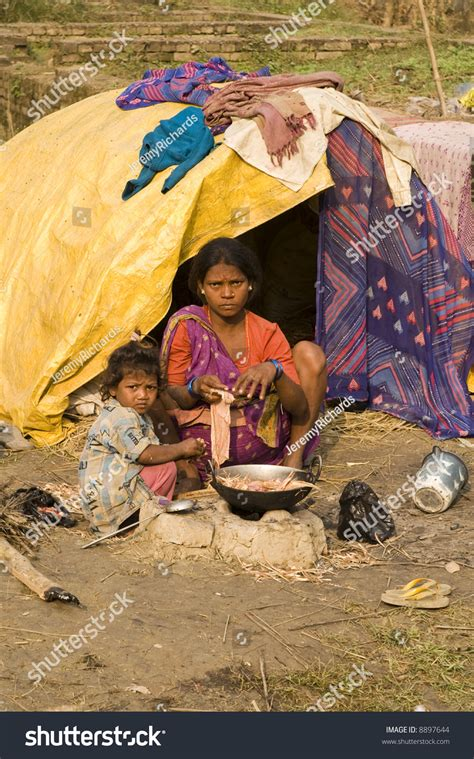 Poor Indian Family Living Makeshift Shack Stock Photo