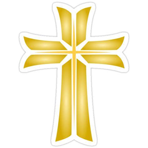"""Golden Cross Christian Religious Symbol"" Stickers by"