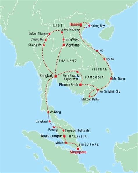 Best of South East Asia tour map | Malaysia travel