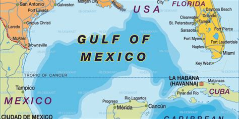 Map of Gulf of Mexico (Region in Mexico, USA)   Welt-Atlas